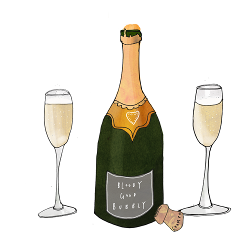 Champagne Bottle and Glasses Illustration