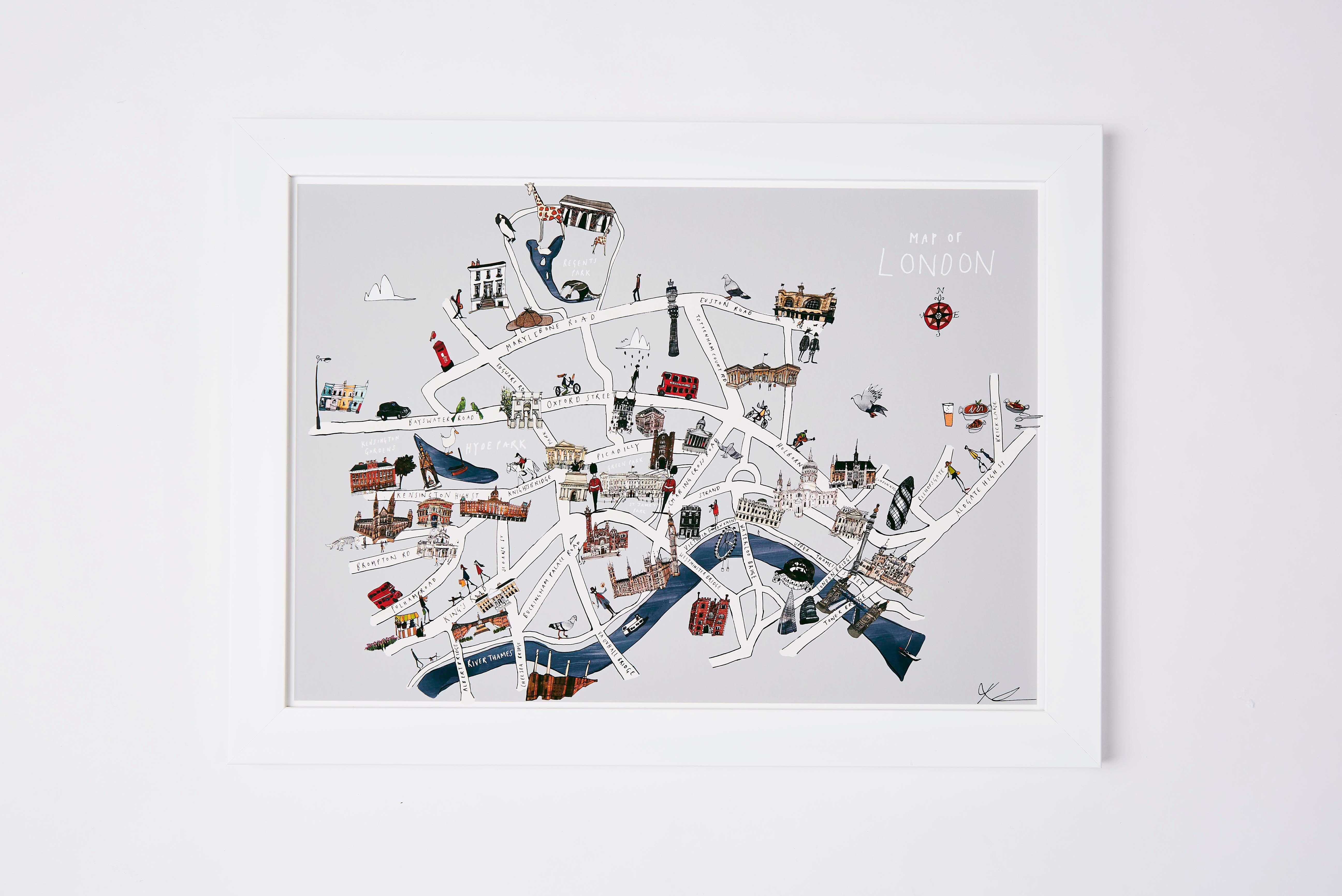 London Map Fine Art Print Katie Cardew Illustrations