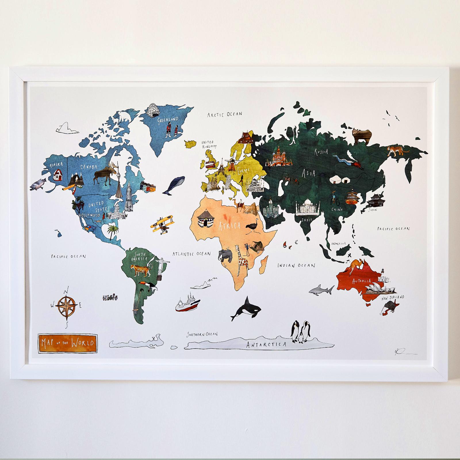 World map fine art print katie cardew illustrations world map fine art print gumiabroncs Gallery