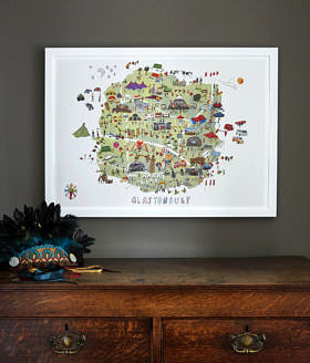 Glastonbury Festival Map Illustration