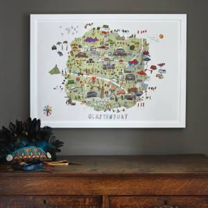 Glastonbury Festival Map Illustration