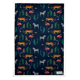 'Exotic Animals' Cotton Tea Towel Navy