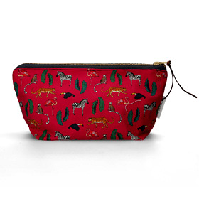 'Exotic Animals' Cotton Cosmetic Bag Pink