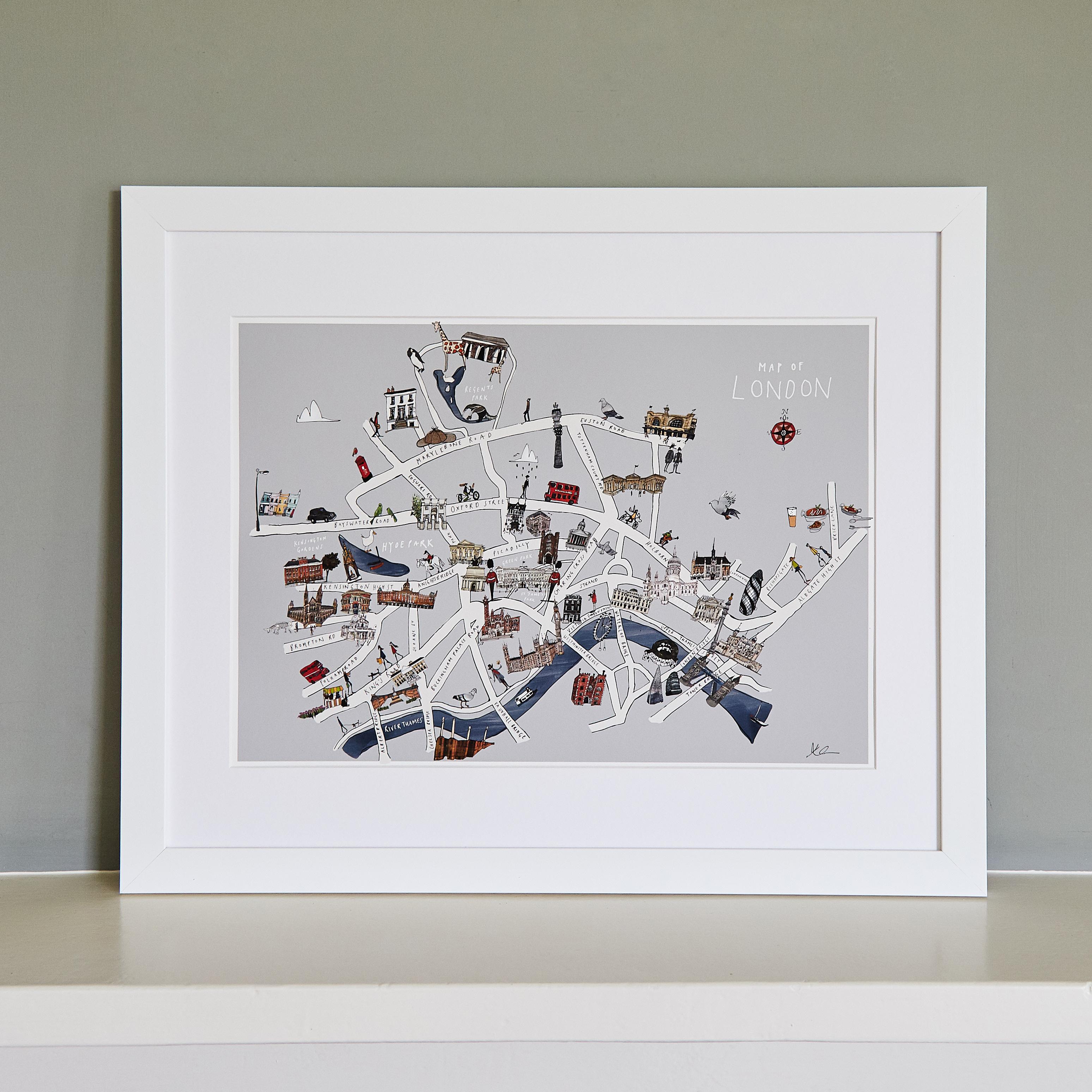 London Map Fine Art Print - Katie Cardew Illustrations
