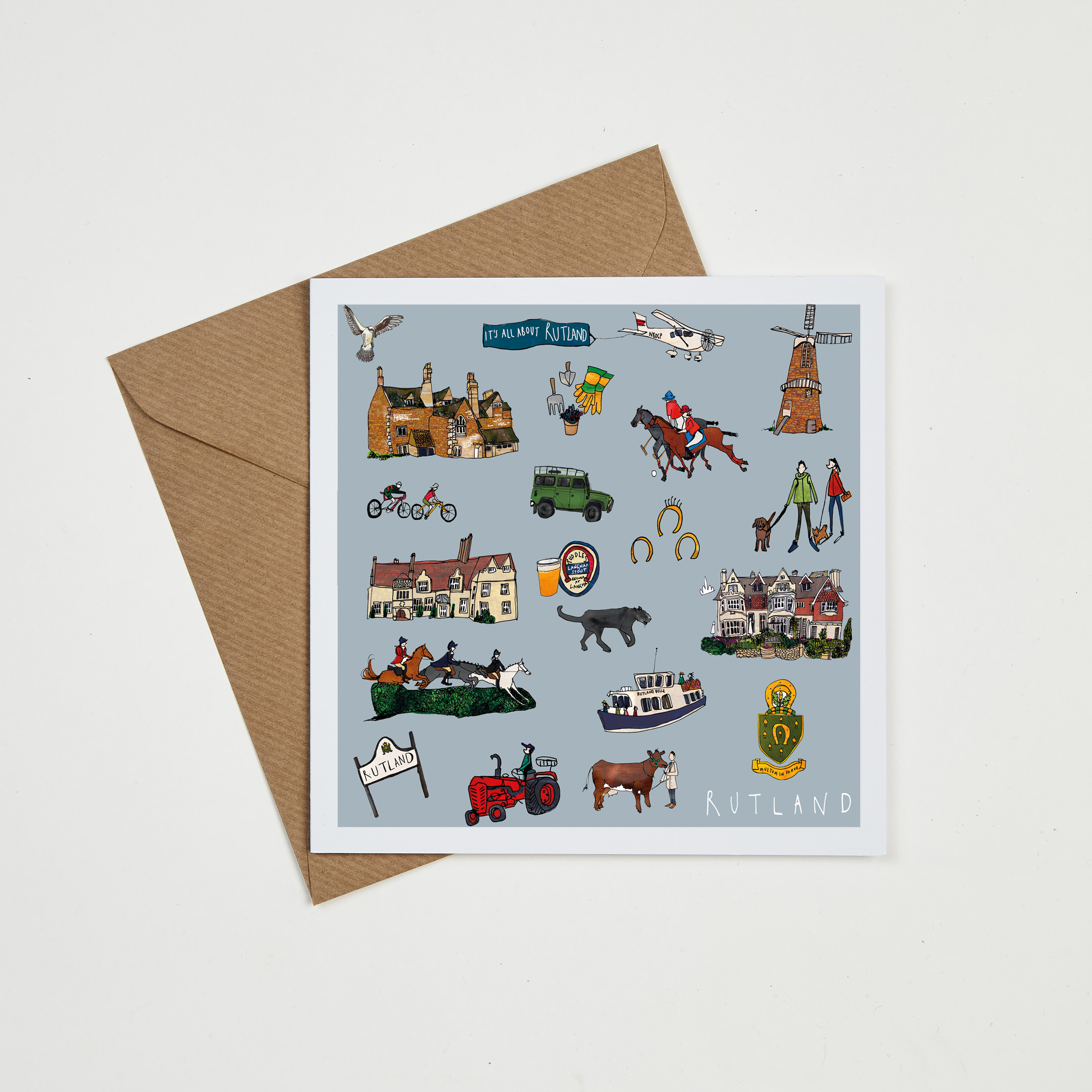 Rutland Greeting Card By Katie Cardew Illustrations