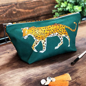 Leopard Cotton Cosmetic Bag