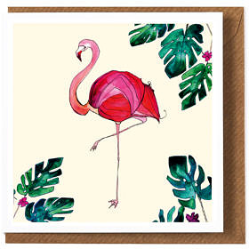 Flamingo Cream Greeting Card **NEW**