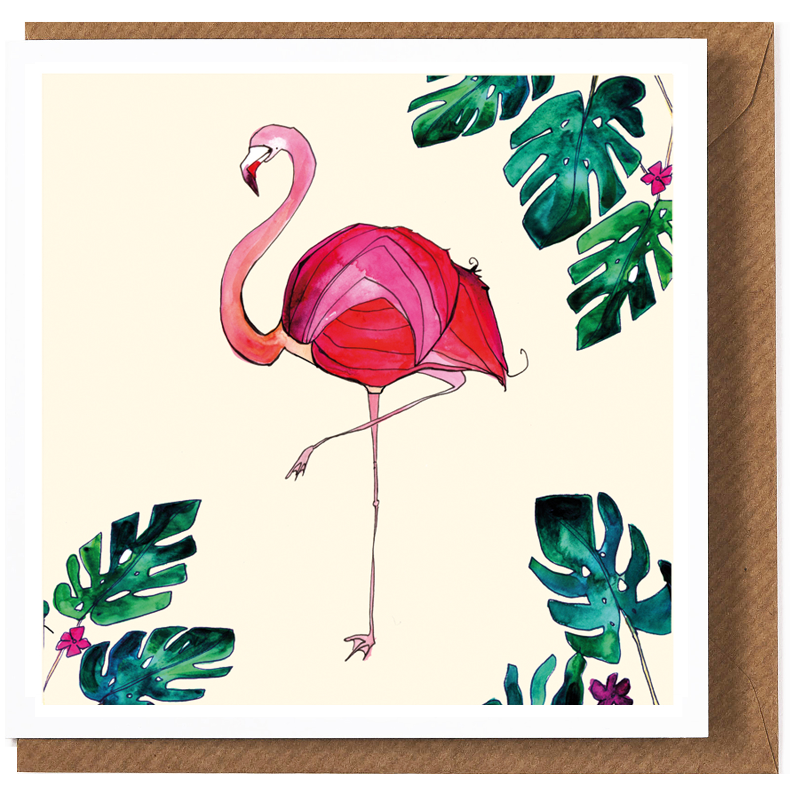 Flamingo Christmas Cards.Flamingo Greeting Card By Katie Cardew Illustrations