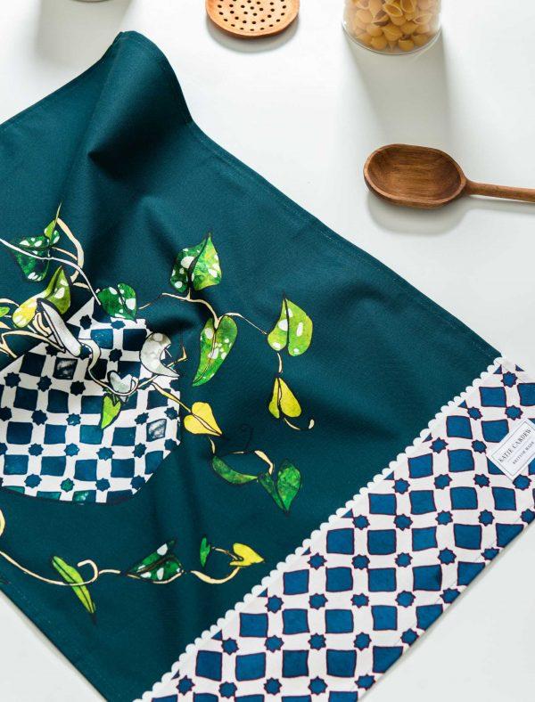 katie cardew hanging plant tea towel