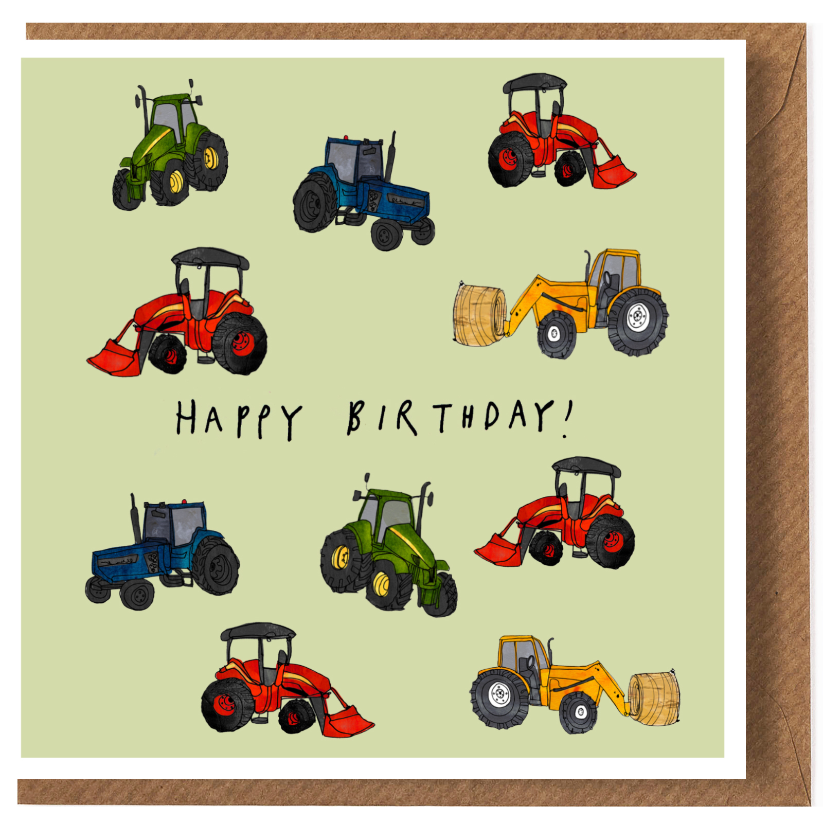 'Tractors' Happy Birthday Greeting Card by Katie Cardew ...