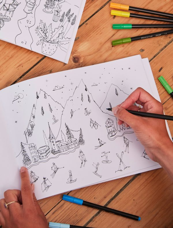 only nice things grown up colouring ski scene