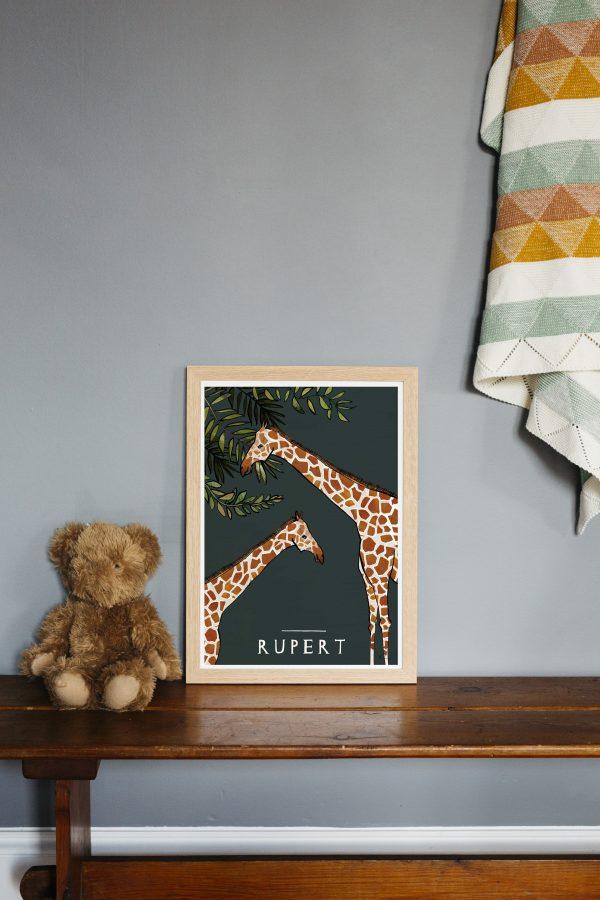 katie cardew savannah giraffe personalised print
