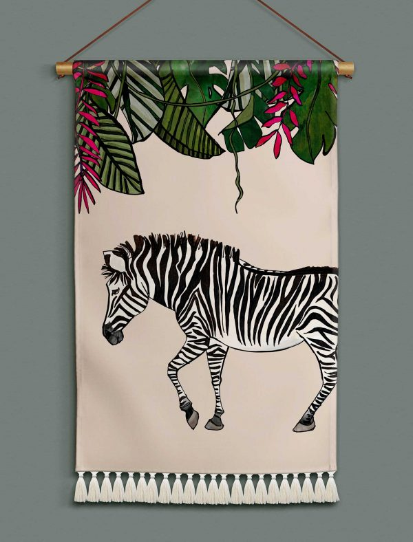 katie cardew wallhanging savannah zebra