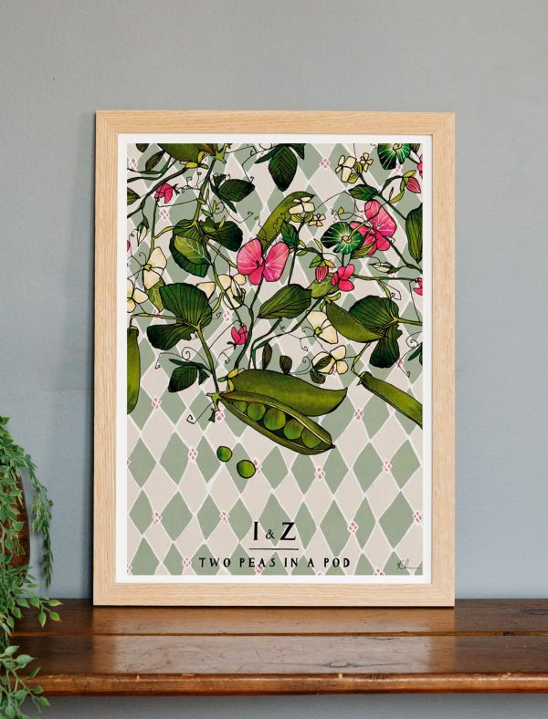 katie cardew personalised two peas in a pod print
