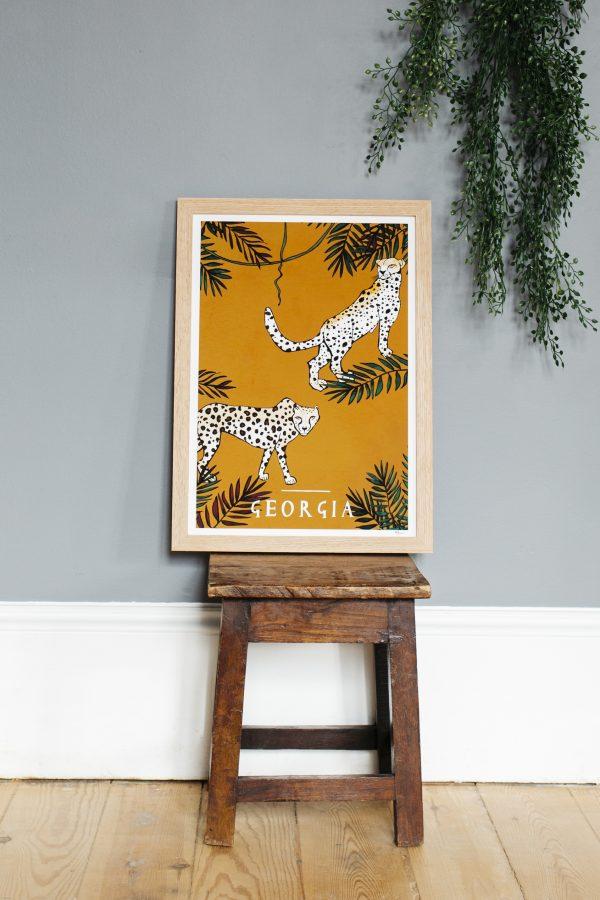 katie cardew cheetah personalised print