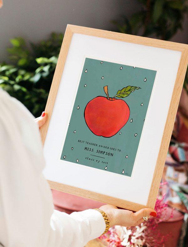 katie cardew personalised best teacher print