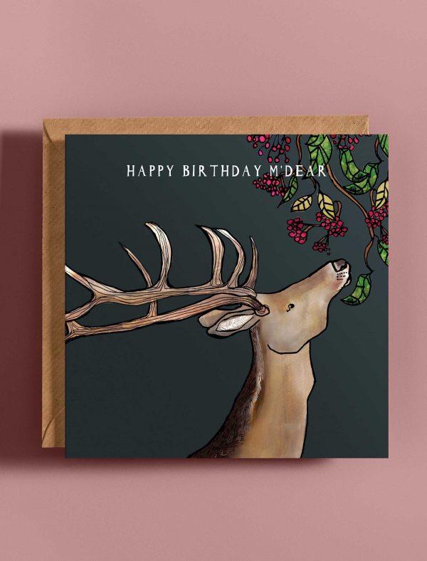 card birthday deer web