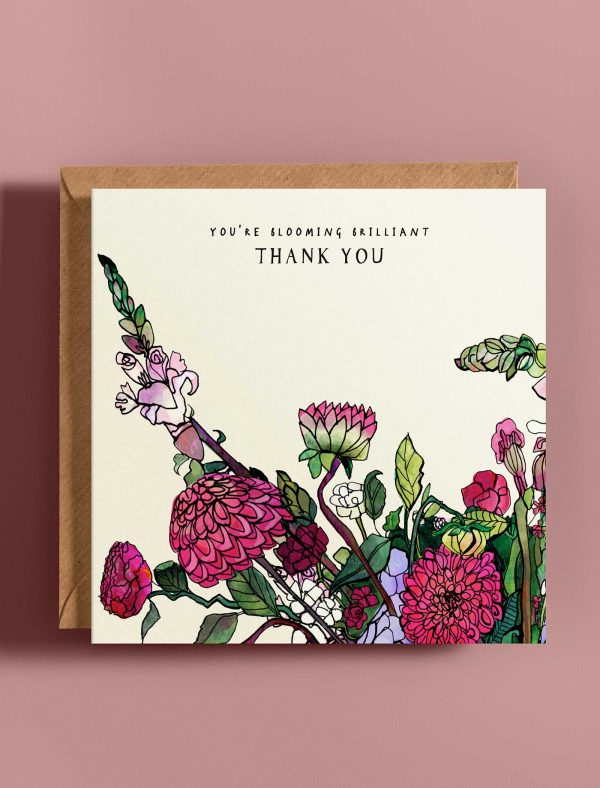 card thank you blooming web