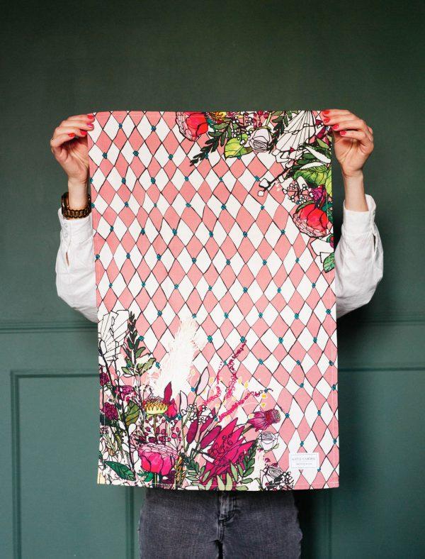 katie cardew tea towel pink harlequin