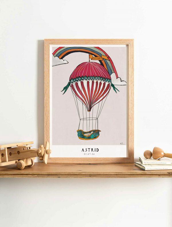 katie cardew personalised hot air balloon print