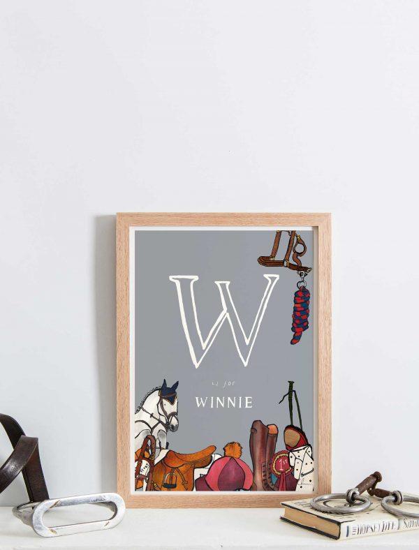 katie cardew horse letter personalised print