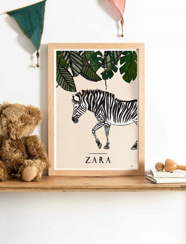 katie cardew savannah zebra personalised print