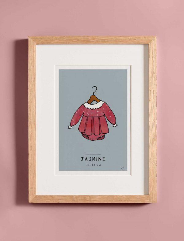 katie cardew personalised girl baby nursery print