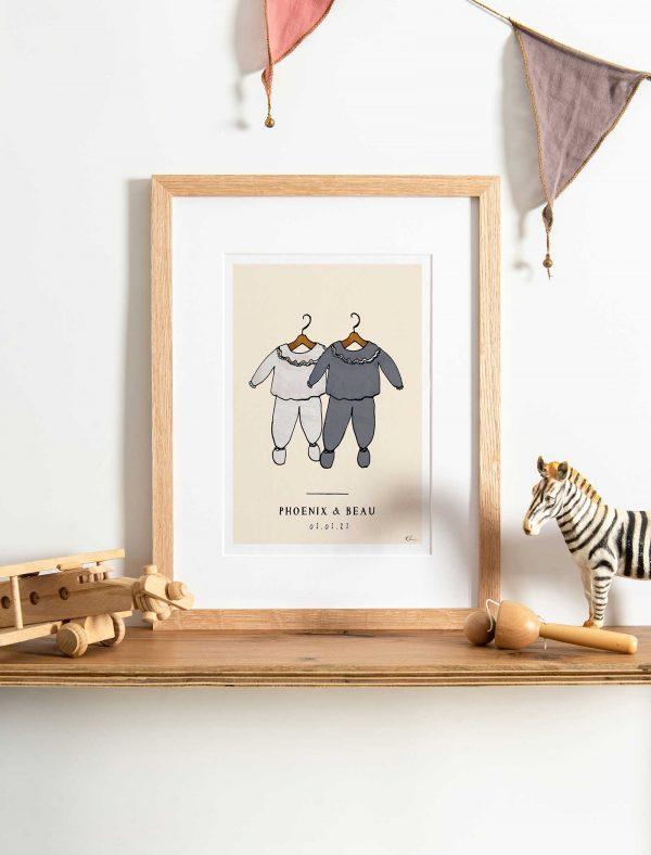 katie cardew personalised twins nursery print