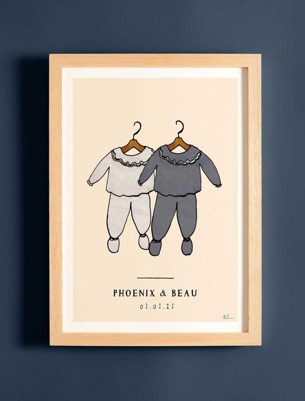 katie cardew personalised twins print