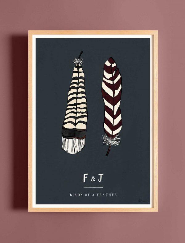 katie cardew personalised feather print