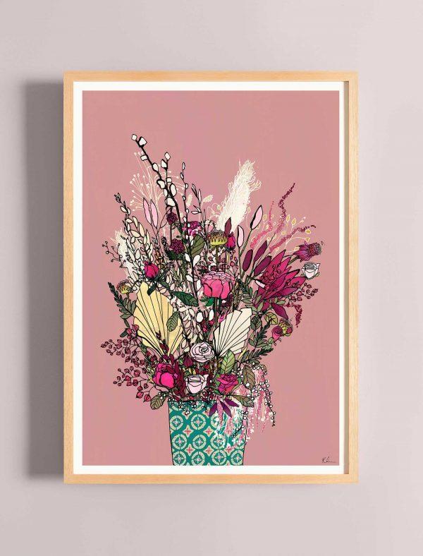 katie cardew pink blooms print