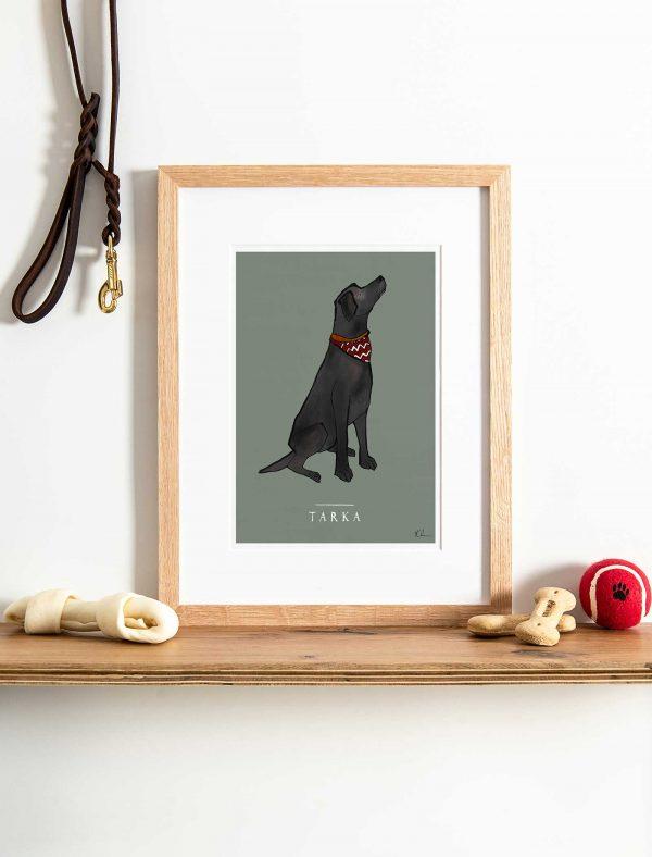 katie cardew personalised black labrador print