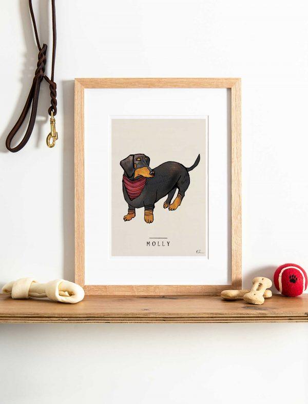 katie cardew personalised dachshund print
