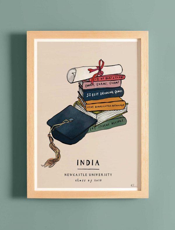 katie cardew personalised graduation fine art print