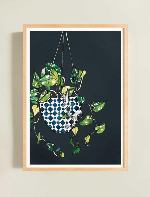 katie cardew print hanging plant