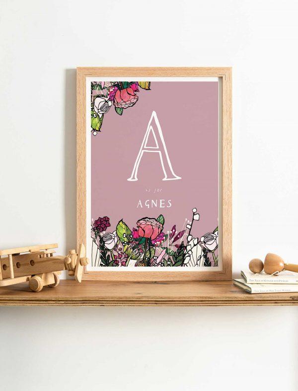 katie cardew pink flowers personalised print