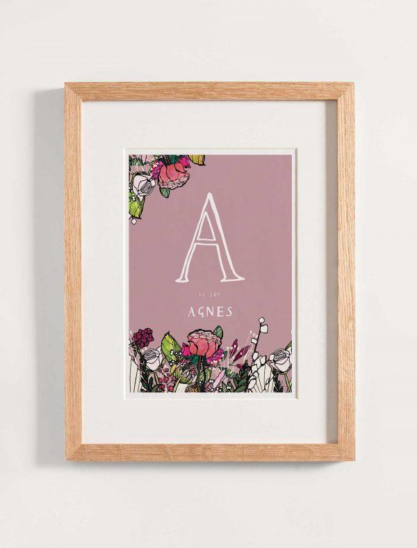katie cardew pink flowers personalised children's print