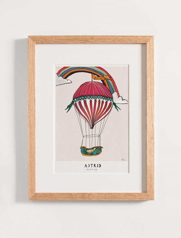 katie cardew personalised hot air balloon nursery print