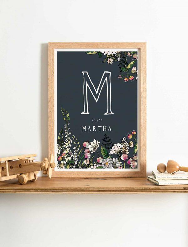 katie cardew white flowers personalised print