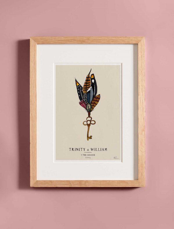 katie cardew personalised new home fine art print