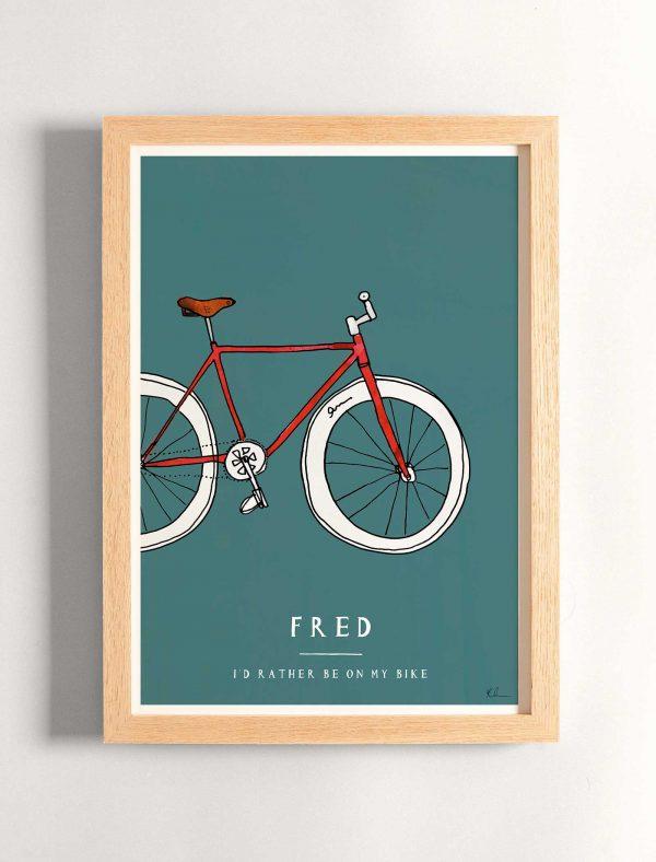 katie cardew personalised bike print