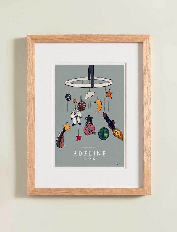 katie cardew personalised out of this world nursery print