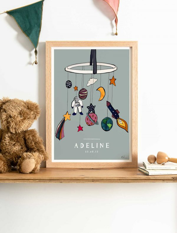 katie cardew personalised out of this world print