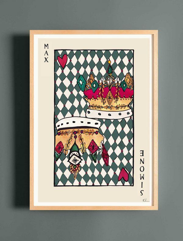 katie cardew personalised playing card print