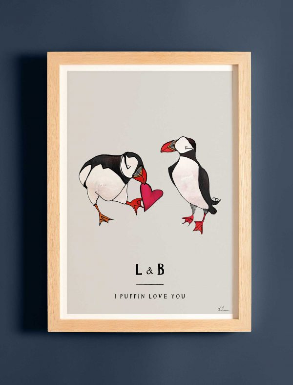 katie cardew personalised puffin love you print