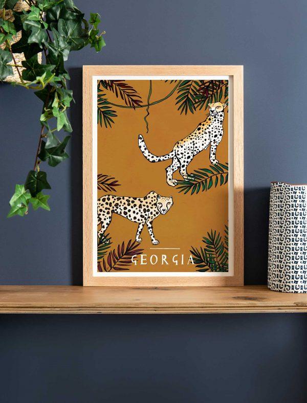 katie cardew savannah cheetah personalised children's print