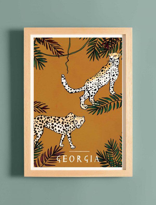 katie cardew cheetah personalised children's print