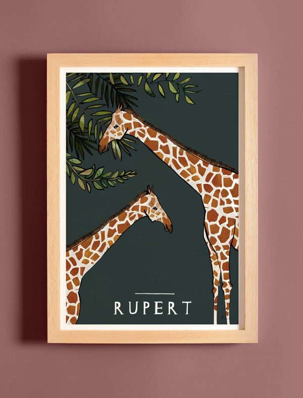 katie cardew giraffe personalised children's print