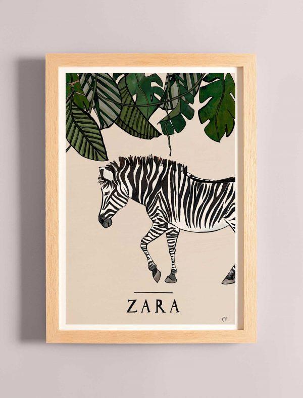 katie cardew zebra personalised children's print