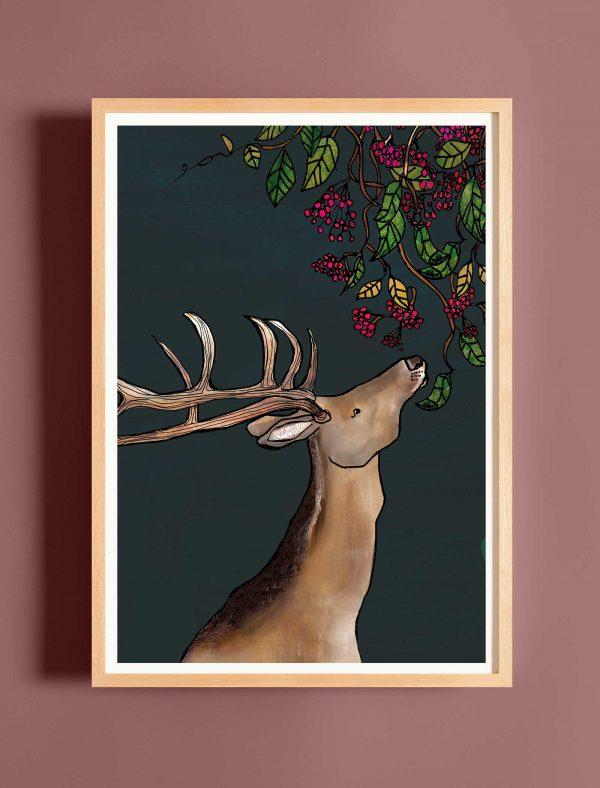 katie cardew stag fine art print